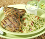 Barbecue Chicken with Orange-mint Sauce