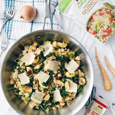 Brussels sprouts, parsnip, and kale quinoa risotto with organic sharp cheddar