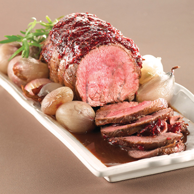 Raspberry-Tarragon Veal Shoulder Roast with Shallot Confit