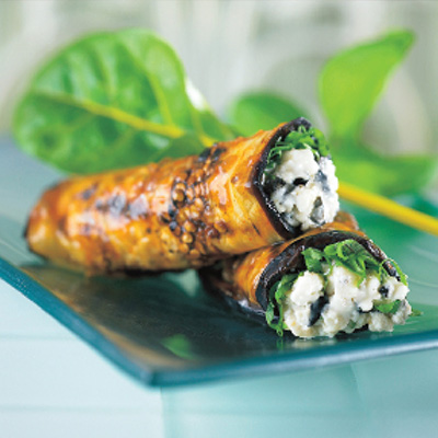 Grilled Eggplant Stuffed with Feta Cheese and Black Olives