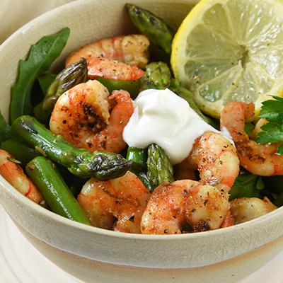 Asparagus and Grilled Shrimp Salad with Tarragon Cream