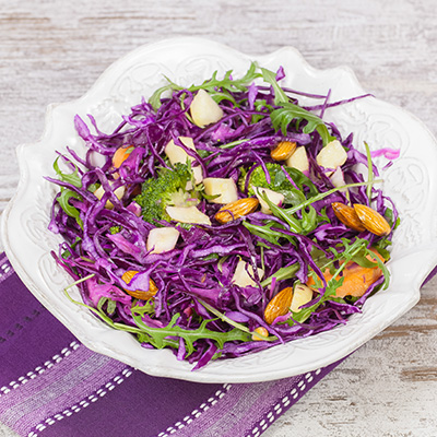 Red Cabbage and Sir Laurier d'Arthabaska cheese Salad with Walnut Vinaigrette