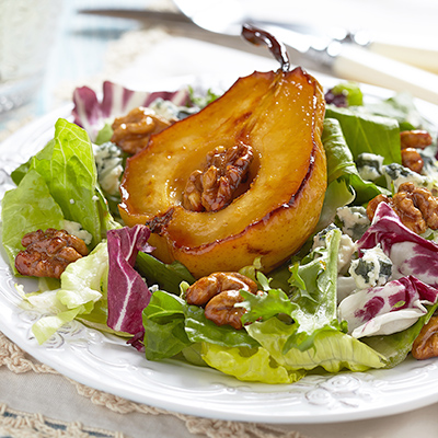 Poached Pear Salad with Walnut and Parmesan