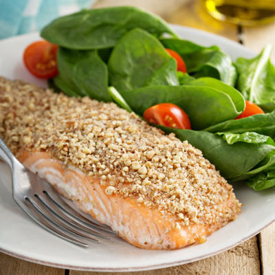 Salmon with a nut crust