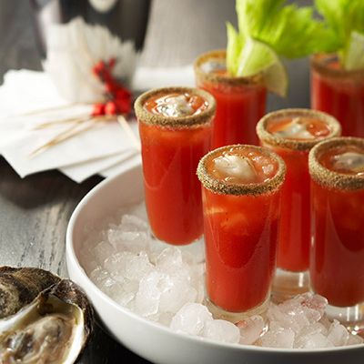 Bloody Caesar Oyster Shooters