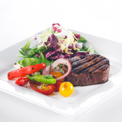 Beef Tournedos with Stir-fried Cherry Tomatoes, Red Pepper and Red Onion
