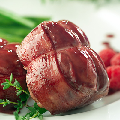 Chicken Tournedos with Port-Raspberry Coulis