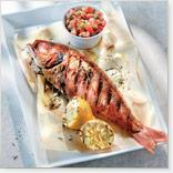 Greek-Style Grilled Whole red Snapper with Virgin Sauce